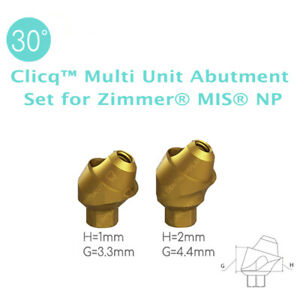 4 X 30 Angled Clicq Multi Unit Abutment Set For Zimmer Mis Np Dental Implant