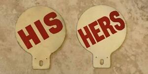 His And Hers Vintage Automotive License Plate Tags Toppers Pair Original