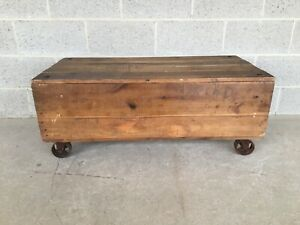 Industrial Restoration Hardware Style Distressed Crate Coffee Table