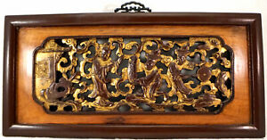 Chinese Gilt Wood Carving Panel Relief Piercing People Religious Symbolism 2