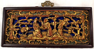 Chinese Gilt Wood Carving Panel Relief Piercing People Religious Symbolism 1