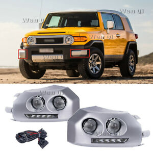 Fit 2007 2014 Toyota Fj Cruiser Chrome Led Fog Lamps Drl Daytime Running Lights