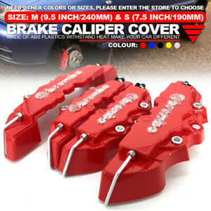 4pcs Set Red 3d Style Front Rear Universal Disc Car Brake Caliper Covers Abs M S