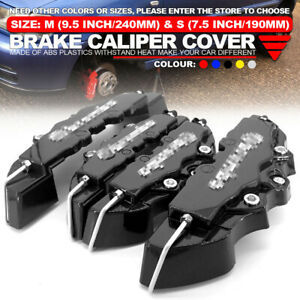 4x Set Black 3d Style Front Rear Universal Disc Car Brake Caliper Covers Abs M S