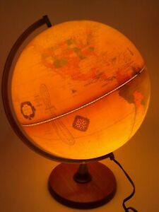 Vintage Light Up Cram S Antique World Globe Wooden Base Made In The Usa 12 Inch