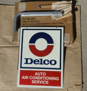 Nos Delco Auto Air Conditioning Service Pole Sgn Original Stout Double Sided
