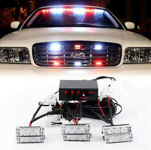 White Red 18led Car Emergency Strobe Flash Lights Bar For Front Grille Deck 12v