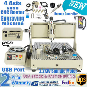 2 2kw Vfd 4 Axis Usb Cnc 6090 Router Engraver Machine Mill Cutter remote Control