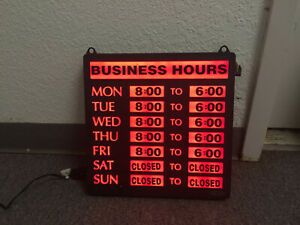 Business Hours Sign Bright Led Used