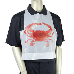 Royal Adult Disposable Poly Bibs With Crab Design Pack Of 500 Pb24