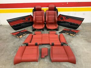 07 13 Oem Bmw E93 Convertible Red Sport Seats W Seat Belts Door Cards