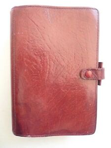 Filofax Leather Planner Made In England Vintage Model 4clf 7 8