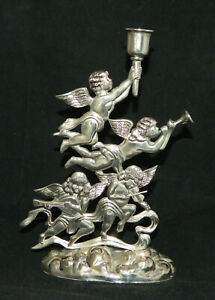 Godinger Silver Plated Cherub Candle Holder Christmas Angels 10 H