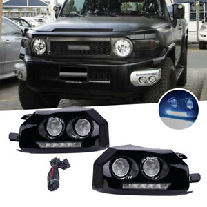For 2007 2014 Toyota Fj Cruiser Black Led Fog Lamps Daytime Running Lights Drl