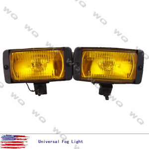 Universal 12v Front Fog Quartz Yellow Lens Halogen Lights Lamps Car Van 4x4