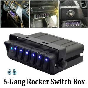 6 gang Toggle Switch Panel Box Controller For Truck Jeep Offroad Boat Rv 12v 24v