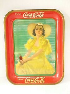 1938 Woman In Yellow Dress Coca Cola Tray