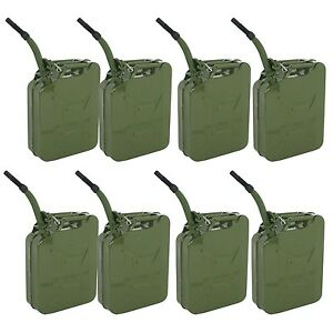 8pcs 5gallon Jerry Can Fuel Steel Green Military Nato Style 20l Storage Tank