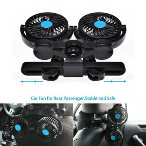 Dual Head Fan 12v Car Rear Back Seat Air Cooler Cooling Fan Adjustable Speed