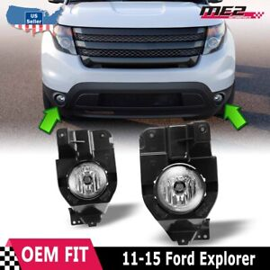 Fits 11 15 Ford Explorer Pair Fog Lights Lamp Clear Lens Oe Bumper Replacement