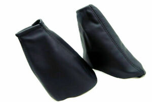 For 00 07 Ford Focus 2pc Manual Shift Boot Cover Ebrake Set Leather Black