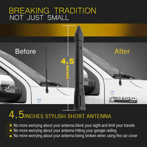 Carmsky 4 5 Inch Universal Car Roof Bullet Antenna Aerial Rubber Black New Us