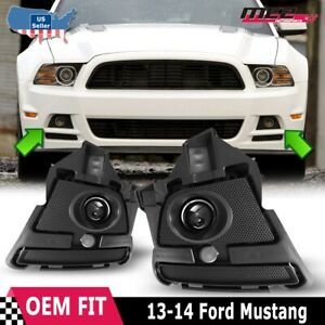 Fits 13 14 Ford Mustang Clear Lens Pair Fog Light Lamps wiring switch Kit Dot