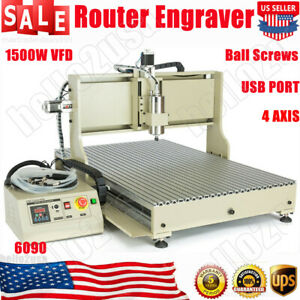 4 Axis 1500w Vfd Usb 6090 Cnc Router Engraver Engraving Drilling Milling Machine