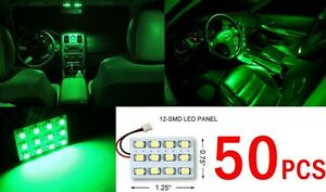 50x T10 Festoon Universal 12 Smd Neon Green Led Panel Interior Dome Map Light