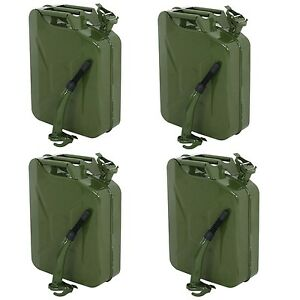 4x 5 Gallon Decorative Jerry Can Gas Fuel Steel Tank Green Military Nato Style