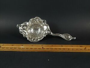 Art Nouveau Sterling Silver Tea Strainer International C1928 Mille Fleurs 1904