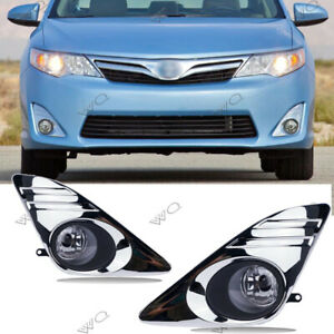 Fit Toyota Camry 2012 2014 Clear Fog Light Chrome Black Fog Lamp Cover Wiring