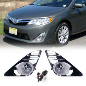 Fit 2012 2014 Toyota Camry Clear Fog Lights Chrome Fog Lamps Cover wiring