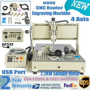 2 2kw Vfd 4 Axis Usb Cnc 6090 Router Engraver Machine Drill Mill Artwork Cutter