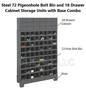 Metal 72 Hole Bin And 18 Drawers Storage Combo Bolt Bin Cabinet Nuts Bolts Screw