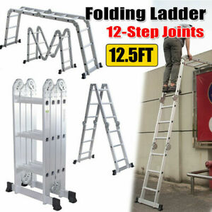 12 5ft Aluminum Folding Ladder Multipurpose 12 step Joints Extension Scaffold Us