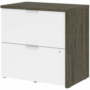 Bestar Gemma 2 Drawer Lateral File Cabinet In Walnut Gray And White