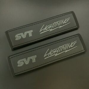 Ford Svt Lightning Black Seat Belt Pads Covers With Dark Grey Embroidery 2pcs
