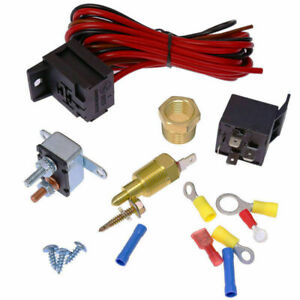 1 Electric Fan Wiring Install Kit Complete Thermostat 50 Amp Relay 743811478223