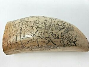 Etched Scrimshaw Style Whale Tooth Replica With Two Scenes