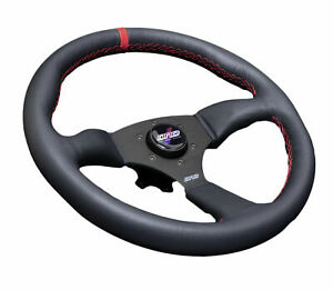 Dnd Performance Leather Touring Steering Wheel 350mm With Red Stitch