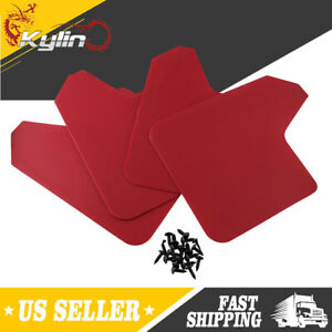 4pcs Mud Flaps Splash Guards Red For Ford Focus Subaru Wrx Pickup Suv Mudflaps