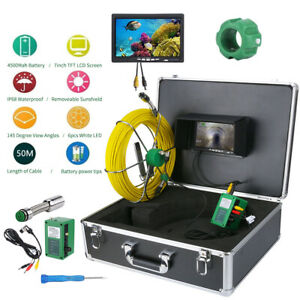 50m 7 sewer Waterproof Camera Pipe Pipeline Drain Inspection System With Lcd