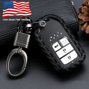 1x Carbon Fiber Style Car Key Case Accessories For Honda Accord Cr V Hr V Civic