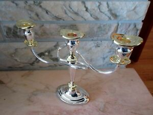 Triple Silver Plated With Gold Accent Candle Holder Candelabra