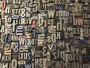 Lot Of 100 Vintage Metal Letterpress Print Type Block Alphabet Letters
