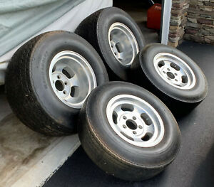 Vintage Aluminum Slotted Rims And Tires