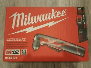 Brand New Milwaukee 2415 21 M12 Li ion 3 8 In Right Angle Drill Driver Kit