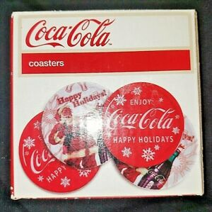 4 Coca Cola COASTERS Santa LOGO In Box