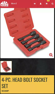 Mac Tools 4 Pc Head Bolt Socket Set Sc200p